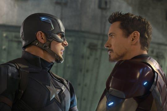 Chris Evans as Captain America and Robert Downey Jr. as Iron Man in 'Captain America: Civil War.'