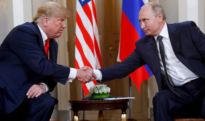 Presidents Donald Trump and Vladimir Putin in Helsinki, Finland, on July 16, 2018.