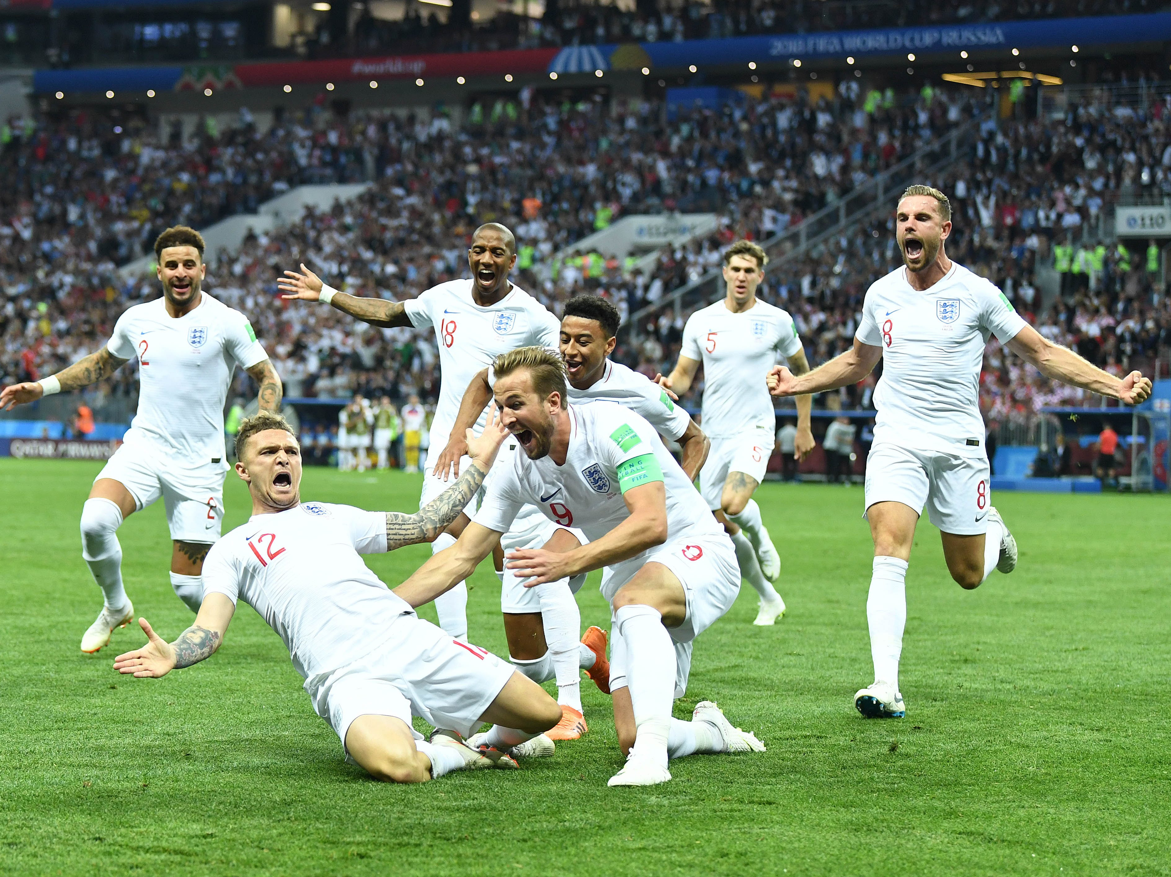 July 11: England celebrates a goal against Croatia during the first half of a World Cup semifinal.