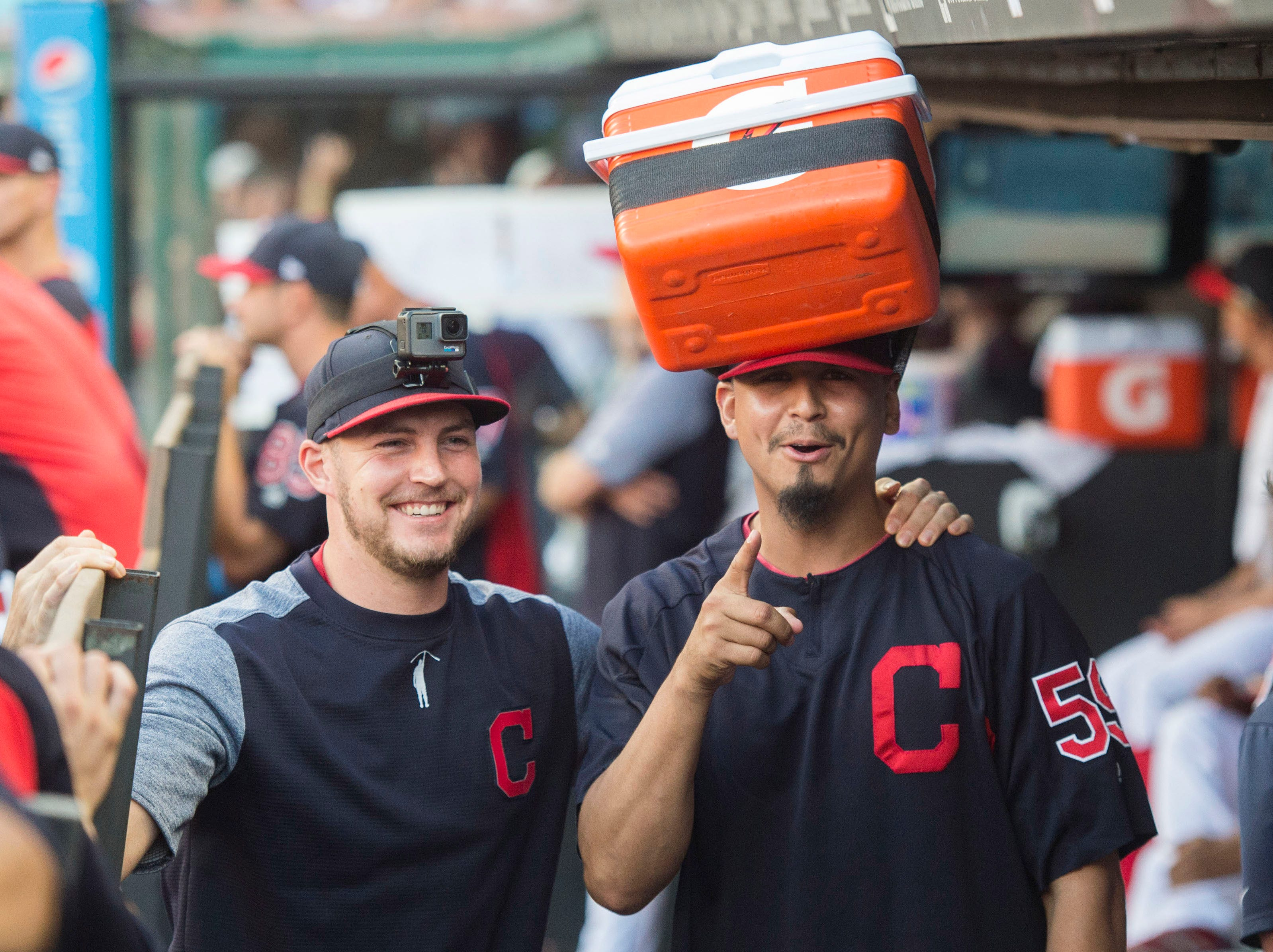 Sept. 15: Cleveland Indians starting pitchers Trevor Bauer and Carlos Carrasco have fun in the dugout during the ninth inning against the Detroit Tigers at Progressive Field.