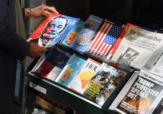 A misinformation newsstand is seen in midtown Manhattan on Oct. 30, 2018, aiming to educate news consumers about the dangers of disinformation, or fake news, in the lead-up to the US midterm elections.