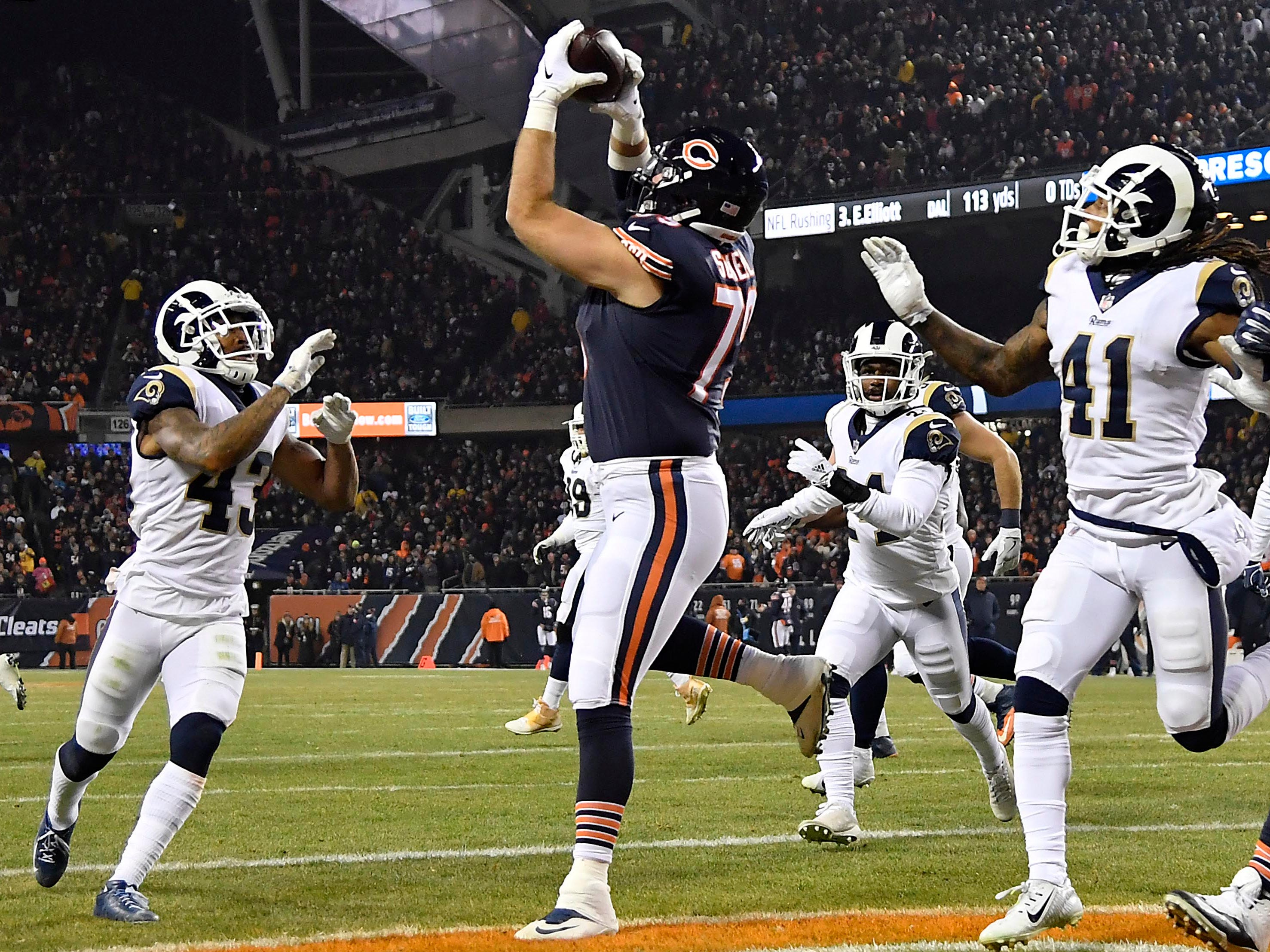Week 14: Chicago Bears offensive tackle Bradley Sowell catches a touchdown pass against the Los Angeles Rams at Soldier Field. The Bears won the game 15-6.
