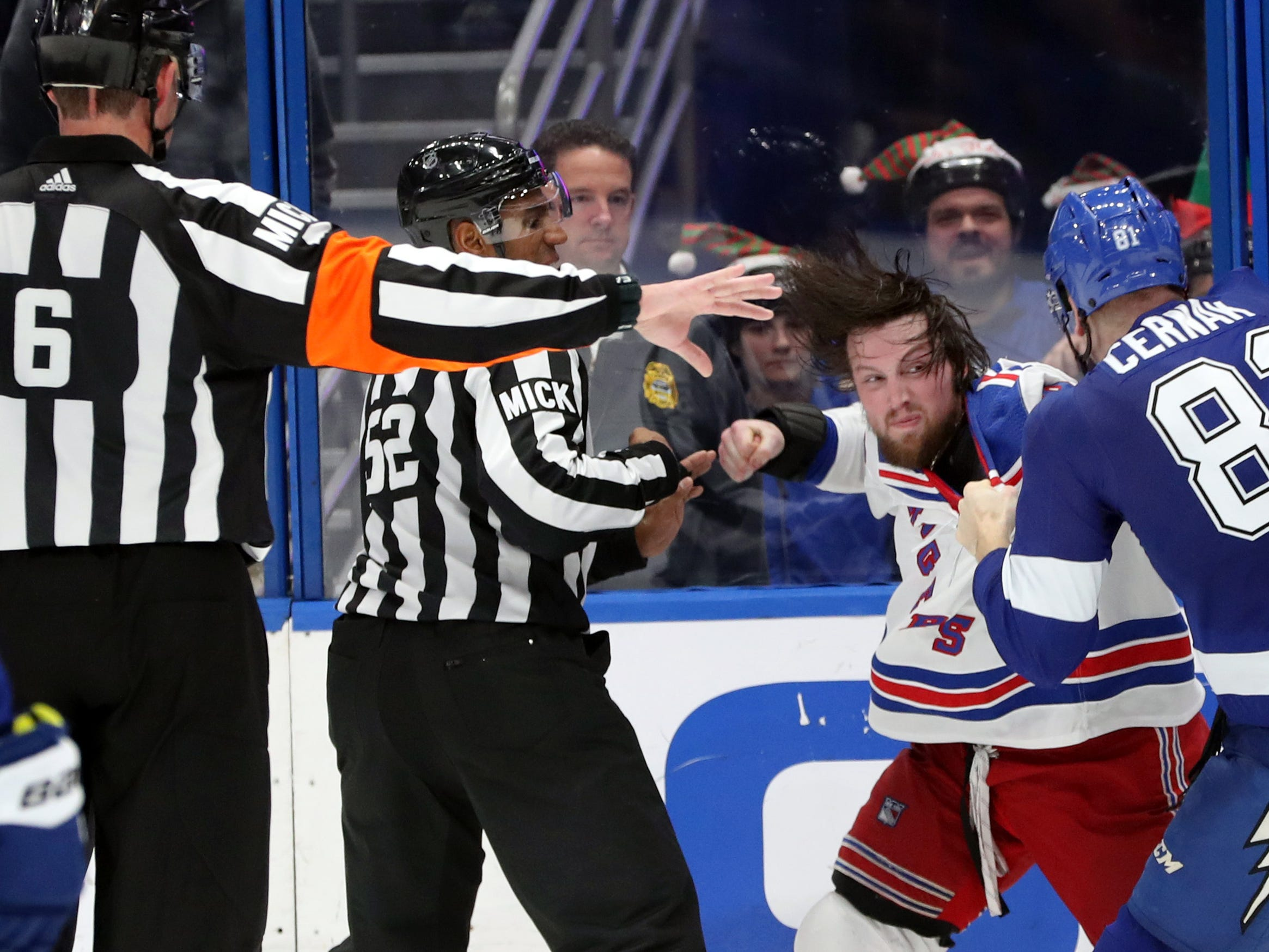 Dec. 10: Tampa Bay Lightning's Erik Cernak vs. New York Rangers left wing Matt Beleskey