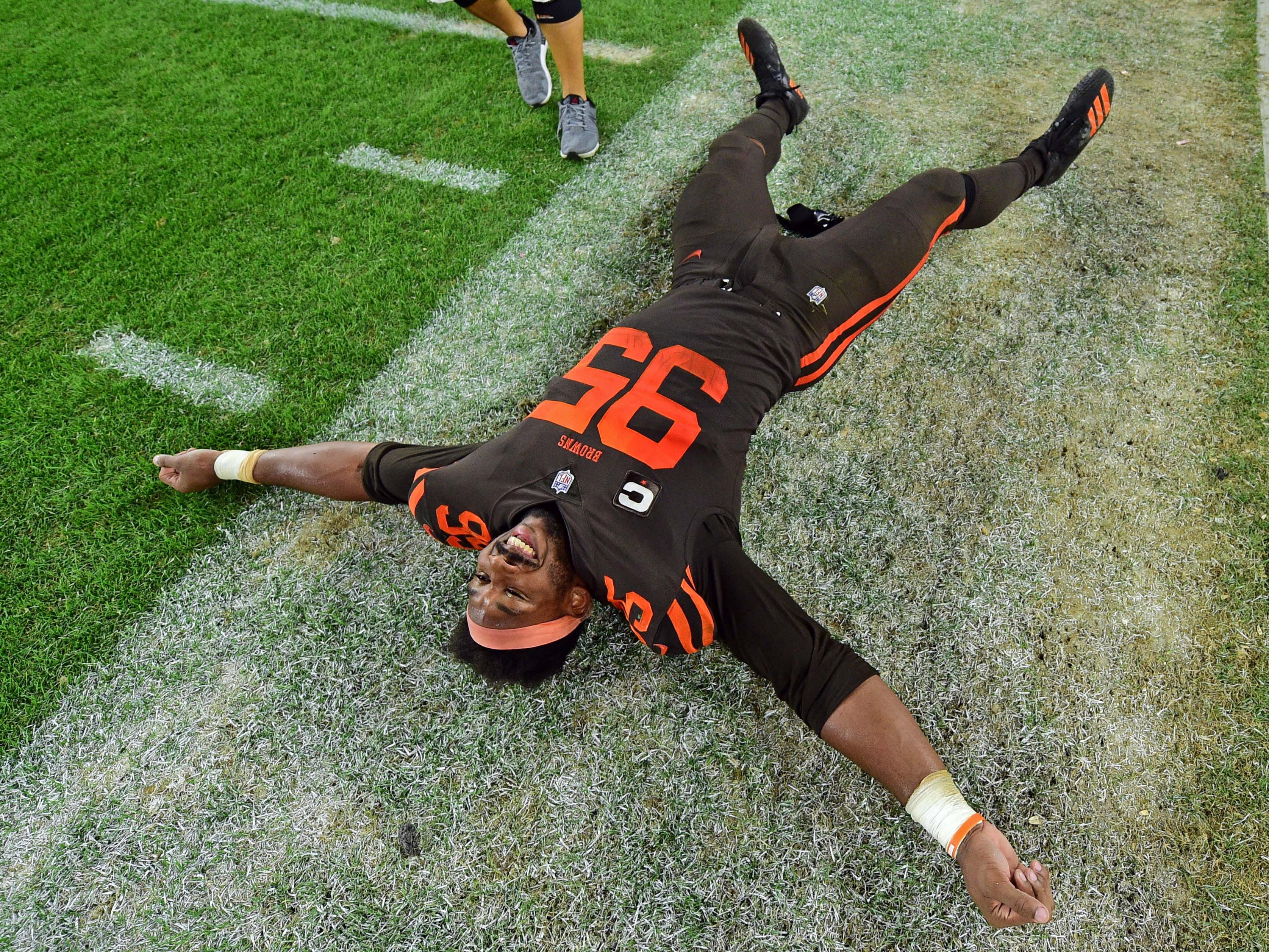 Sept. 20: Cleveland Browns defensive end Myles Garrett celebrates after a win against the New York Jets, the Browns' first victory since 2016.