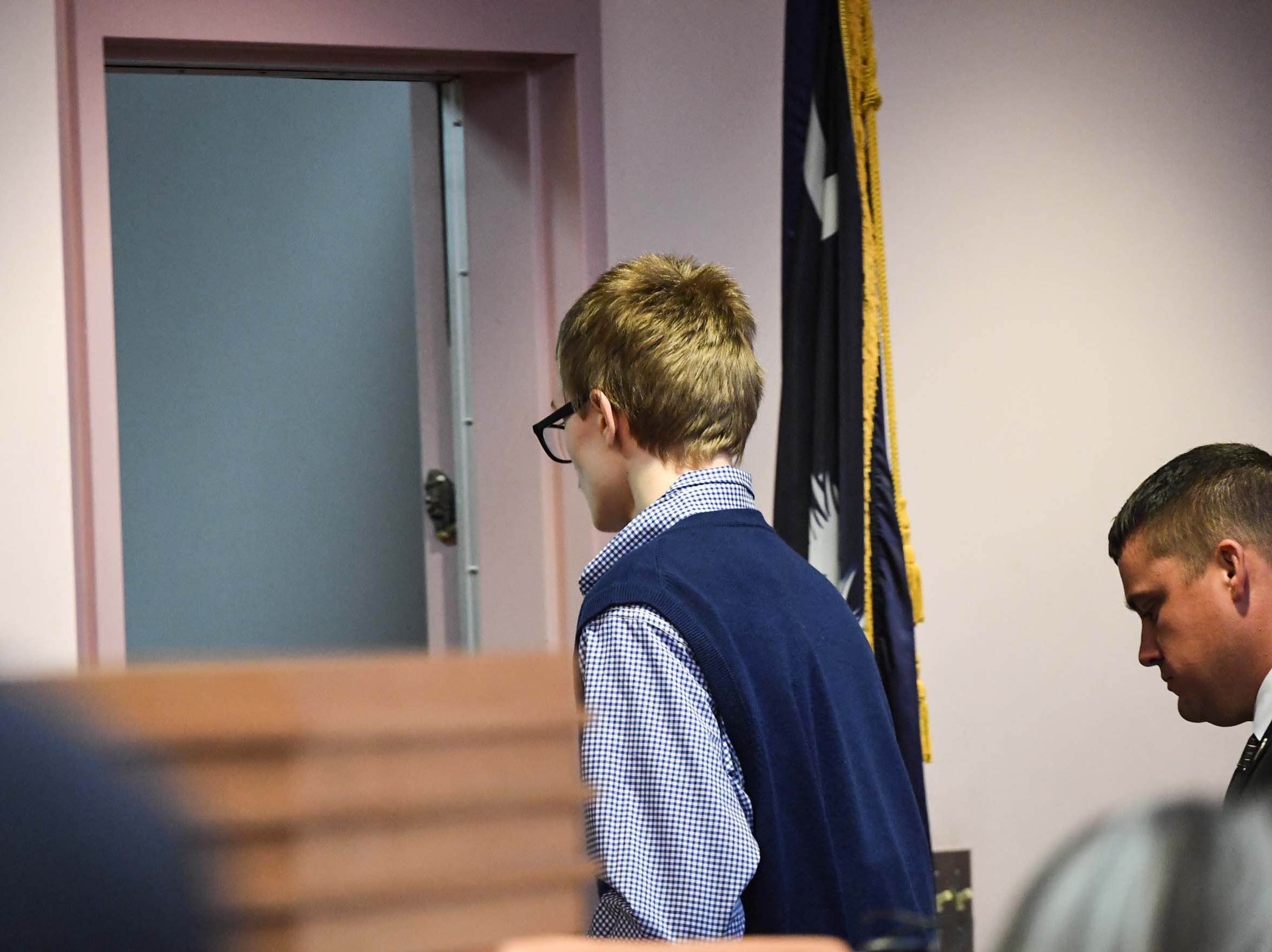 Jesse Osborne leaves after a hearing for him in the Anderson County Courthouse Wednesday, December 12, 2018.