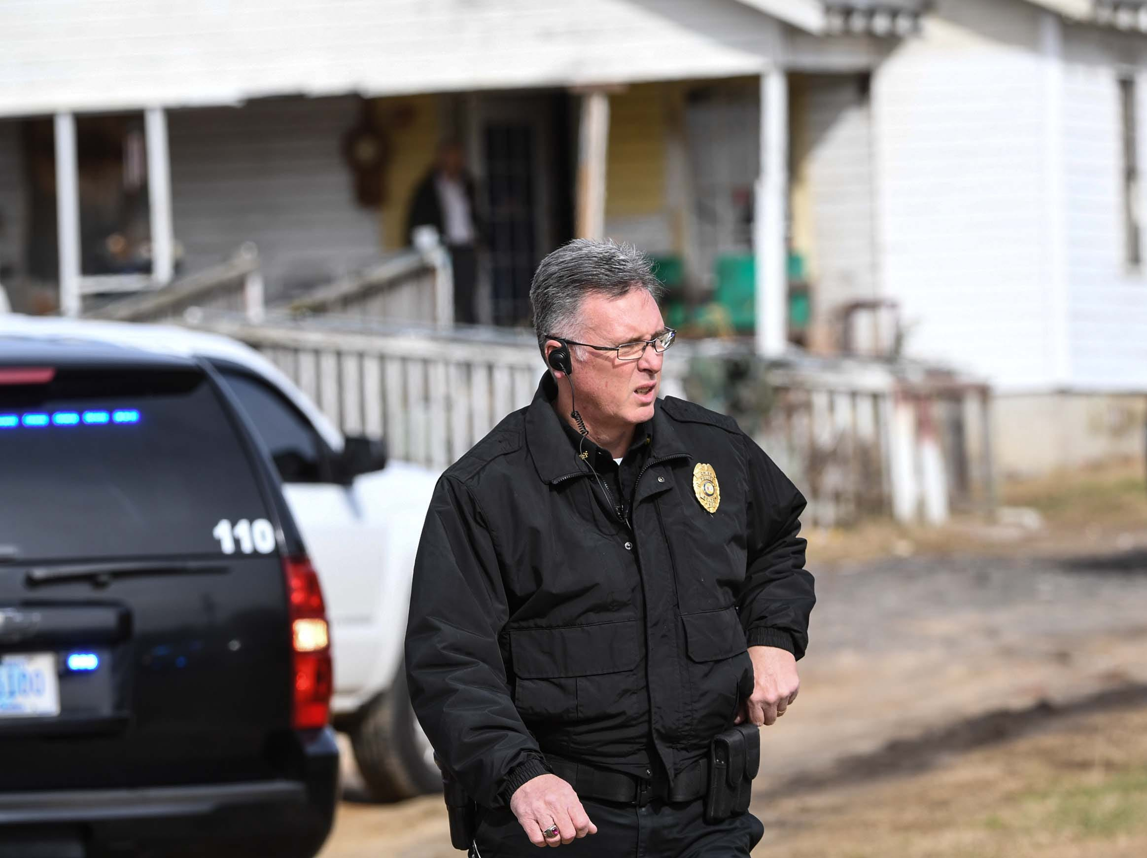 Belton Police Chief Tommy Clamp stands at a house where Anderson County Sheriff Deputies responded to on Brazeale Street in Belton following a report that a man struck an officer serving a warrant at a house Wednesday, December 12, 2018.