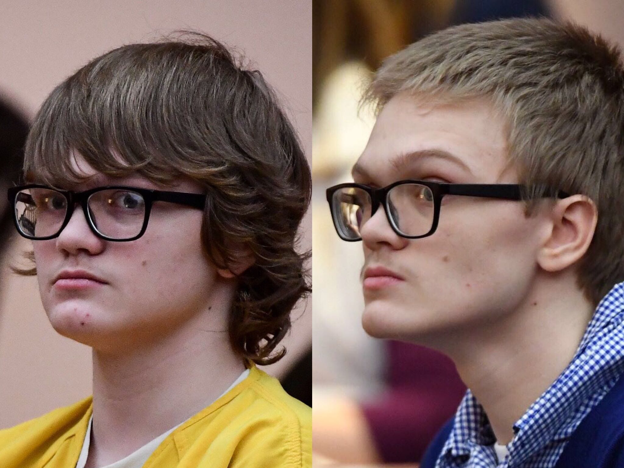 Side-by-side: (Left) Judge Edgar Long ruled to waive up Jesse Osborne at the Anderson County Courthouse on Friday, February 16, 2018. (Right) Jesse Osborne pleads guilty to the Townville Elementary School shooting during his court hearing on Wednesday, Dec. 12, 2018.