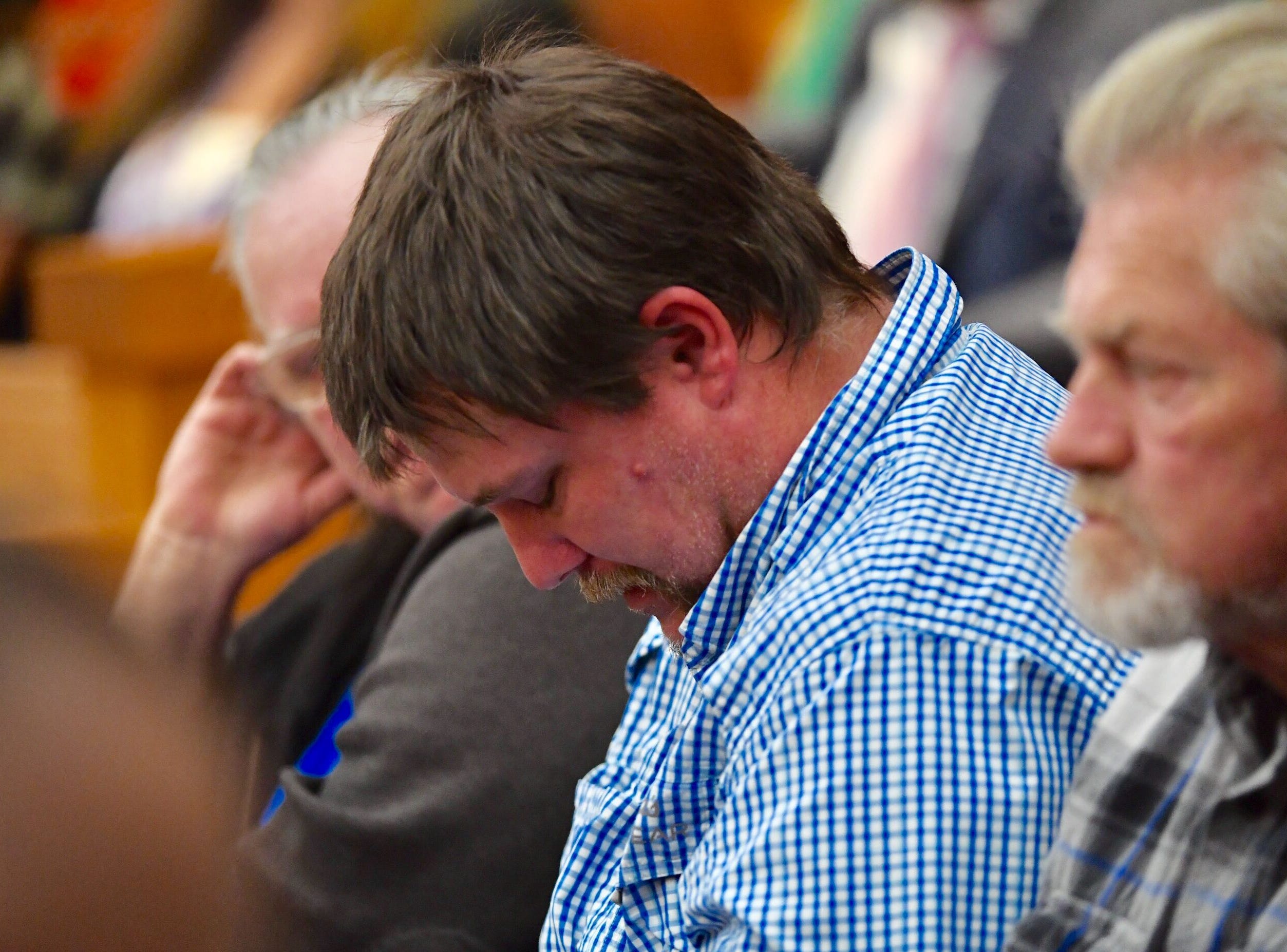 Rodger Hall, the father of Jacob Hall who was killed in the Townville Elementary School shooting, is seen hanging is head during Jesse Osborne's hearing on Wednesday, Dec. 12, 2018. Osborne plead guilty to the shooting.