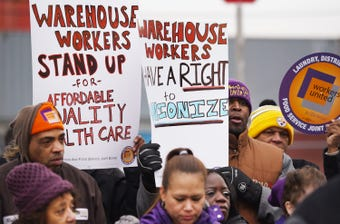 Workers, advocate and elected officials hold a press conference at the Port of Newark to call for greater protections for warehouse workers, photographed  at the corner of Corbin and Marsh streets in Newark on 12/12/18.