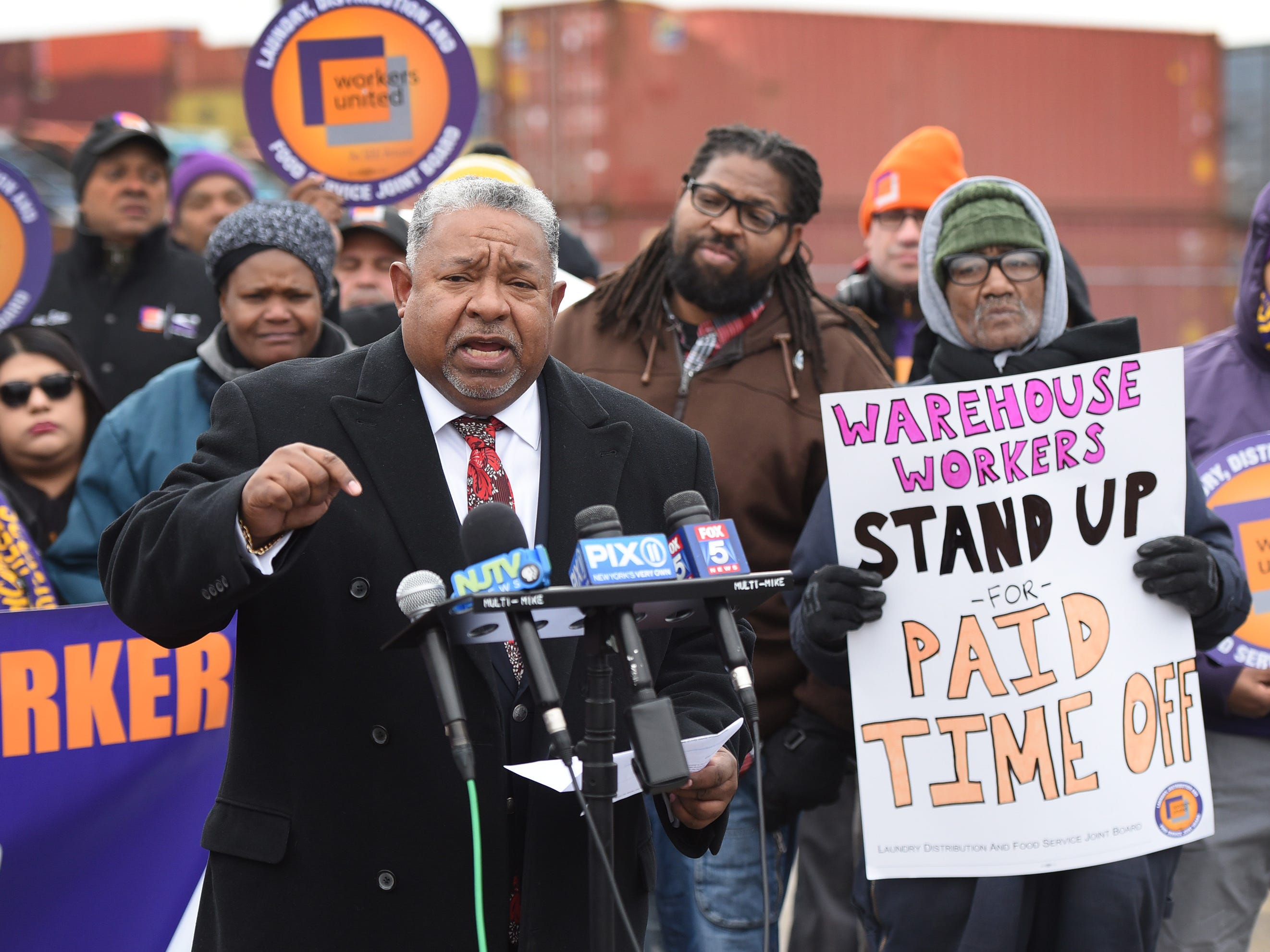 Charles N. Hall, Jr. President of Retail Wholesale and Department Store Union, speaks during a press conference at the Port of Newark to call for greater protections for warehouse workers, photographed at the corner of Corbin and Marsh streets in Newark on 12/12/18.