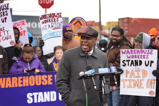 Newark Mayor Ras Baraka speaks during a press conference at the Port of Newark to call for greater protections for warehouse workers, photographed at the corner of Corbin and Marsh streets in Newark on 12/12/18.