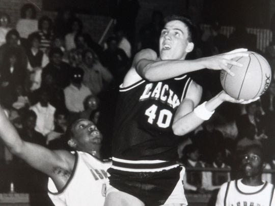Lacey's Chris Fleming  drives to the basket during a 1988 game at Asbury Park.