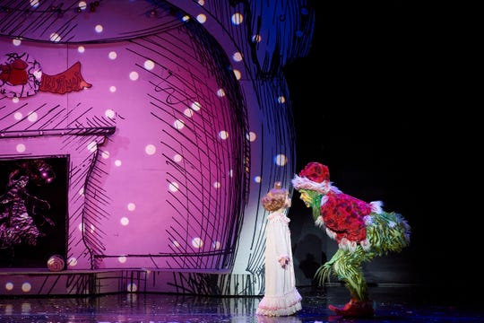 """Gavin Lee and Mackenzie Jane Mercer in """"How The Grinch Stole Christmas! The Musical."""""""