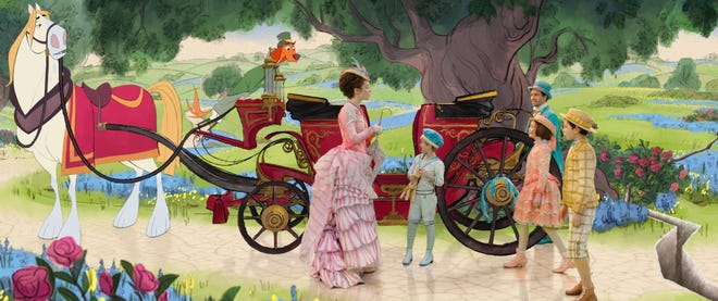 "Emily Blunt is Mary Poppins, from left, Lin-Manuel Miranda is Jack, Pixie Davies is Annabel, Nathanael Saleh is John and Joel Dawson is Georgie in Disney's ""Mary Poppins Returns,"" a sequel to the 1964 ""Mary Poppins,"" which takes audiences on an entirely new adventure with the practically perfect nanny and the Banks family."