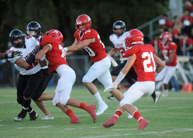 Albany guard Payne Hebel, left, and tight end Ryan Hill make a running lane for Cutter Edgar (21).