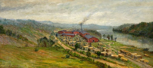 Ida Crawley (1867-1946), Morgan Manufacturing Company, Woodfin, North Carolina, 1918, oil on canvas, 17 x 37 1/2 inches. The Johnson Collection, Spartanburg, South Carolina.