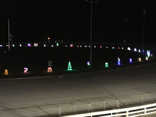 Lights decorate the Tioga Downs racetrack for Winterfest.