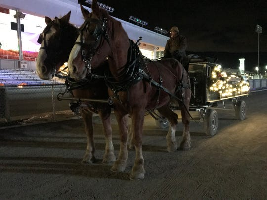 At Tioga Downs Winterfest, patrons can view a light display around the racetrack by taking a horse-drawn wagon ride.
