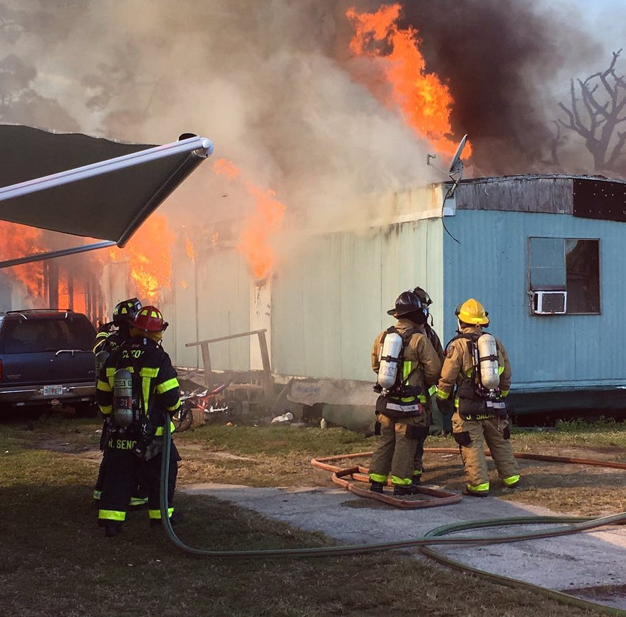 Two separate mobile home fires in Cocoa area leave residents injured, displaced