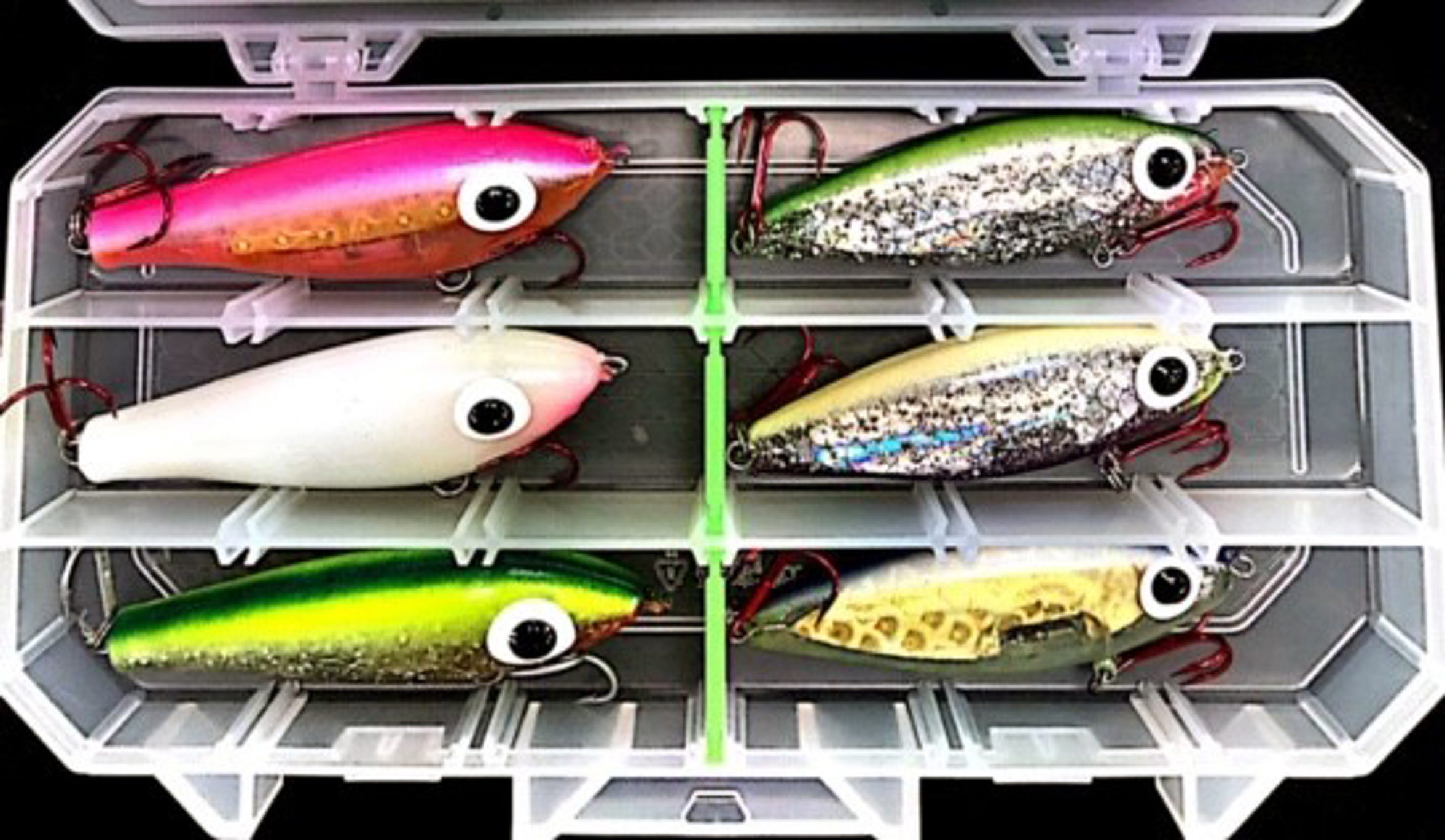 Slow-sinkers and suspending baits such as a Custom Corky or Soft-Dine from Waterloo Pro Shop are popular winter lures.