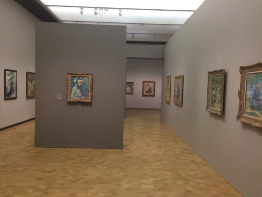 "A view of the Morisot exhibition at the Barnes Foundation in Philadelphia. The gallery view includes  ""Young Woman with a Straw Hat,"" which had been originally owned by Dr. Barnes."
