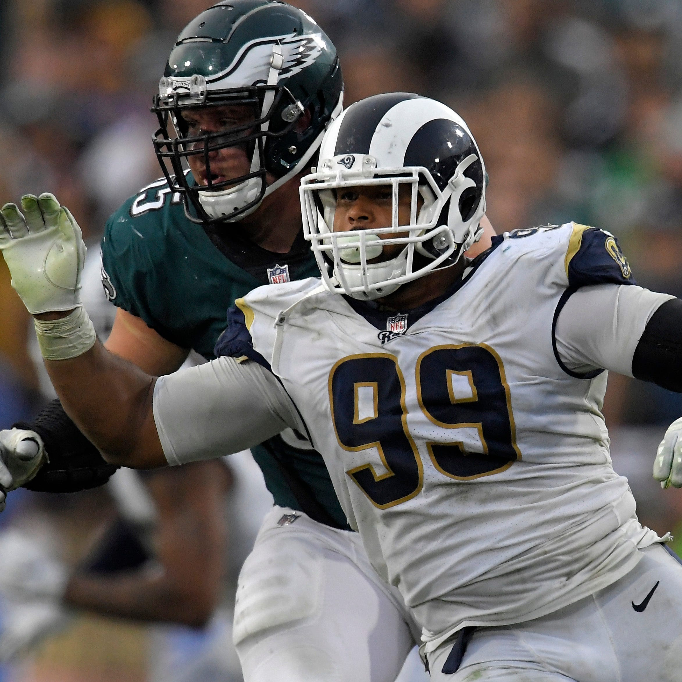 Eagles offensive line has hands full with Rams' Aaron Donald, Ndamukong Suh