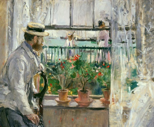 "An exquisite image is ""In England (Eugène Manet on the Isle of Wight),"" depicting Berthe Morisot's husband posed at the newlywed's rental cottage while on honeymoon."