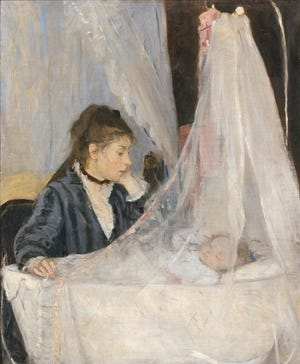 Berthe Morisot's 'The Cradle' was created in 1872. It is an oil on canvas work and depicts her sister Edma and Edma's second child.