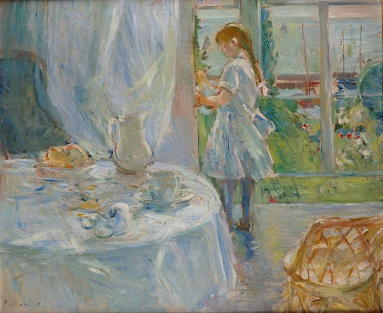 Berthe Morisot's 'Cottage Interior,' is a  1886 oil on canvas work by the artist.