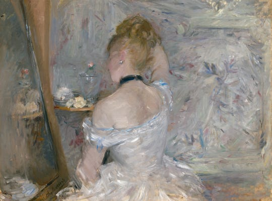 Berthe Morisot's 'Woman at Her Toilette' was created by the artist between 1875–1880. It is an oil painting on canvas.