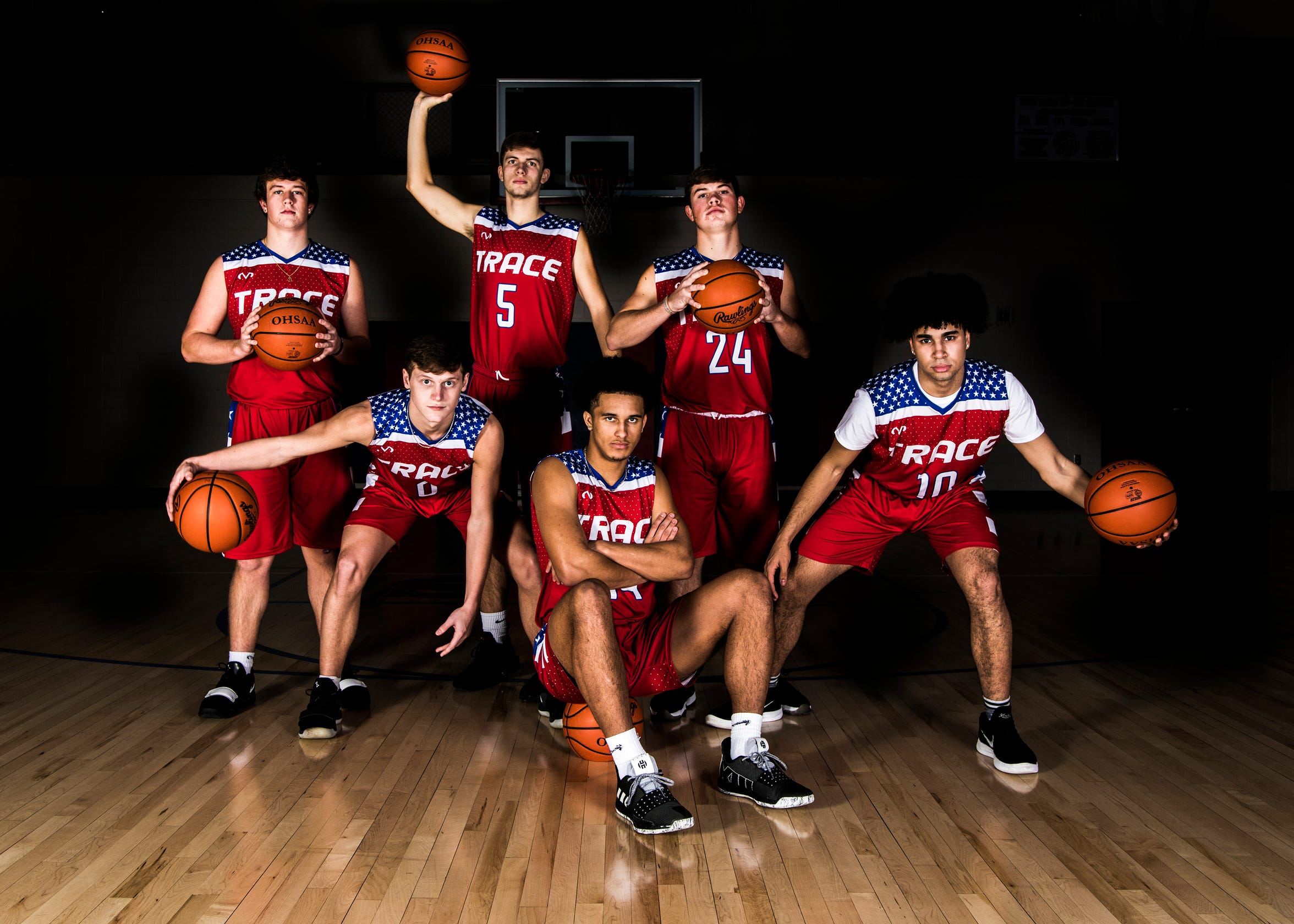 The Zane Trace varsity basketball team will return to Ohio University's Convocation Center for a Division II district final against Fairfield Union in Athens on March 10, 2019. Zane Trace basketball players (L-R) Luke Johnson, Colby Swain, Nick Nesser, Triton Davidson, Chad Ison, and Cam Evans.