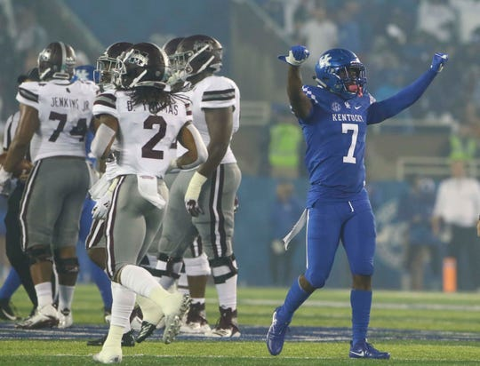 Sep 22, 2018; Lexington, KY, USA; Kentucky Wildcats safety Mike Edwards (7) celebrates against the Mississippi State Bulldogs in the second half at Kroger Field. Kentucky defeated Mississippi State 28-7.