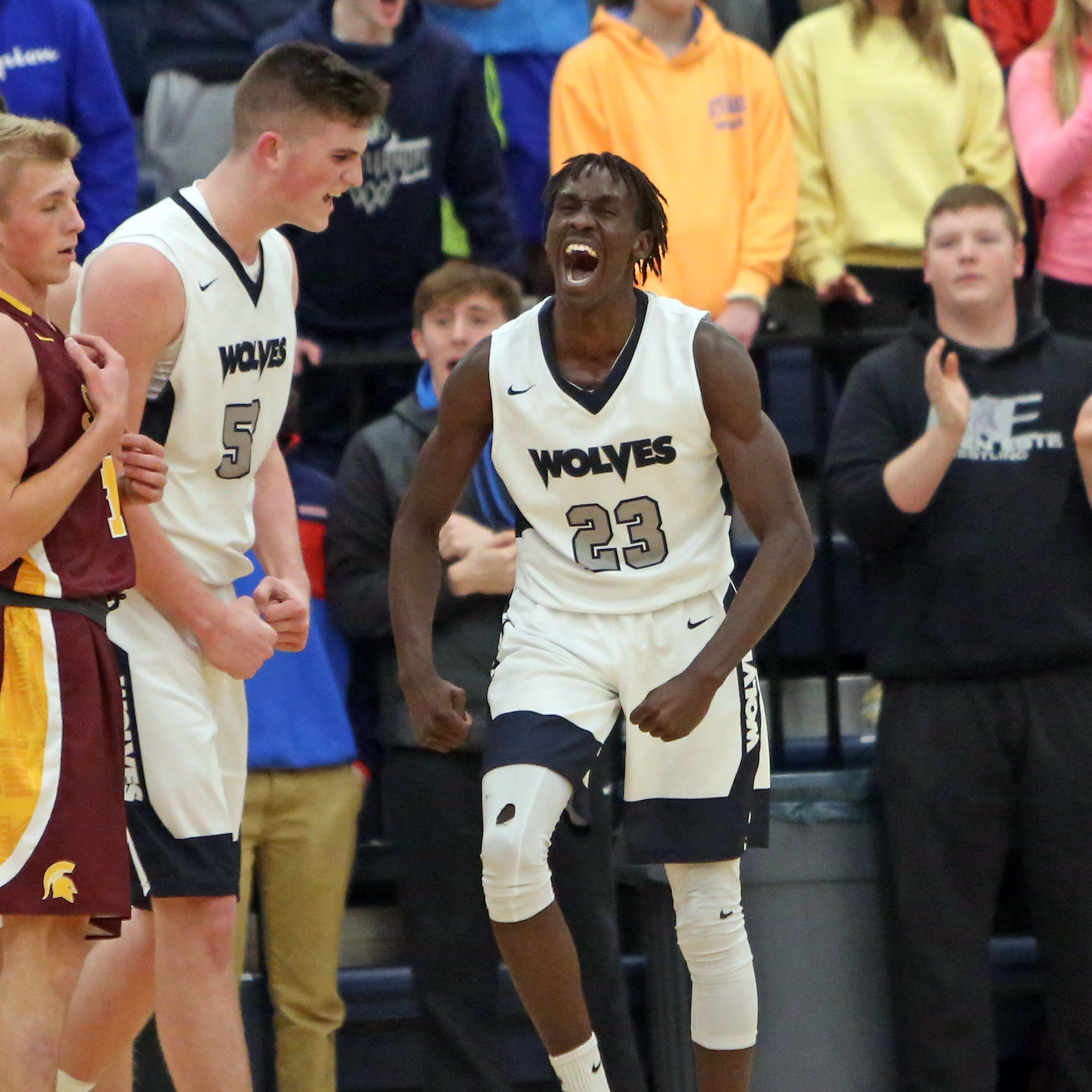"""West Clermont guard Ismail Ismail reacts after getting the """"And 1"""" call."""