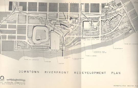 Cincinnati's 1948 master plan shows a heliport on the riverfront.