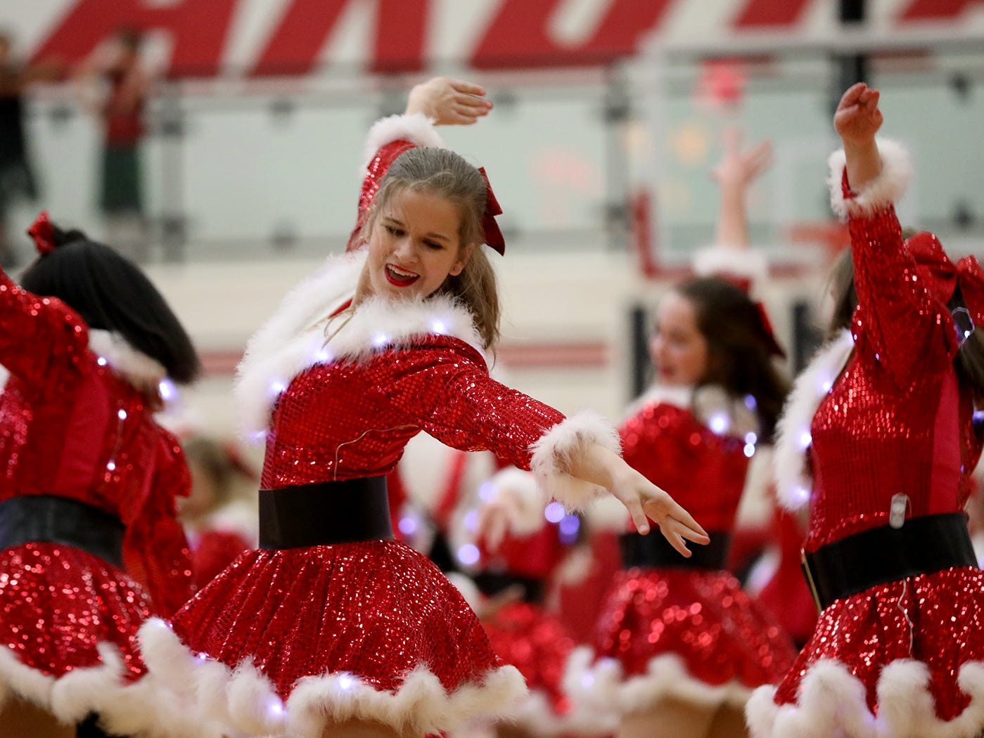 Lakota West dance team performs at haltime  of the  boys basketball game against Middletown, Tuesday, Dec. 11,2018.