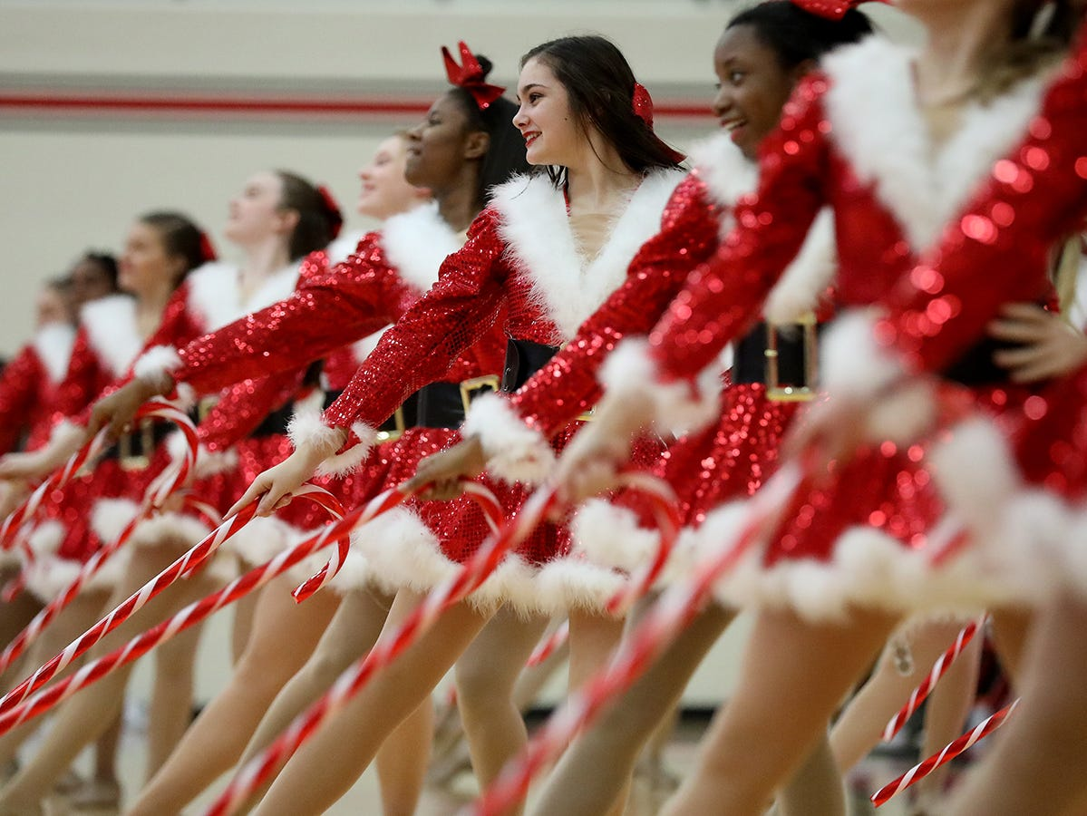 Lakota West  dance team performs at halftime of the Firebirds basketball game against Middletown, Tuesday, Dec. 11,2018.