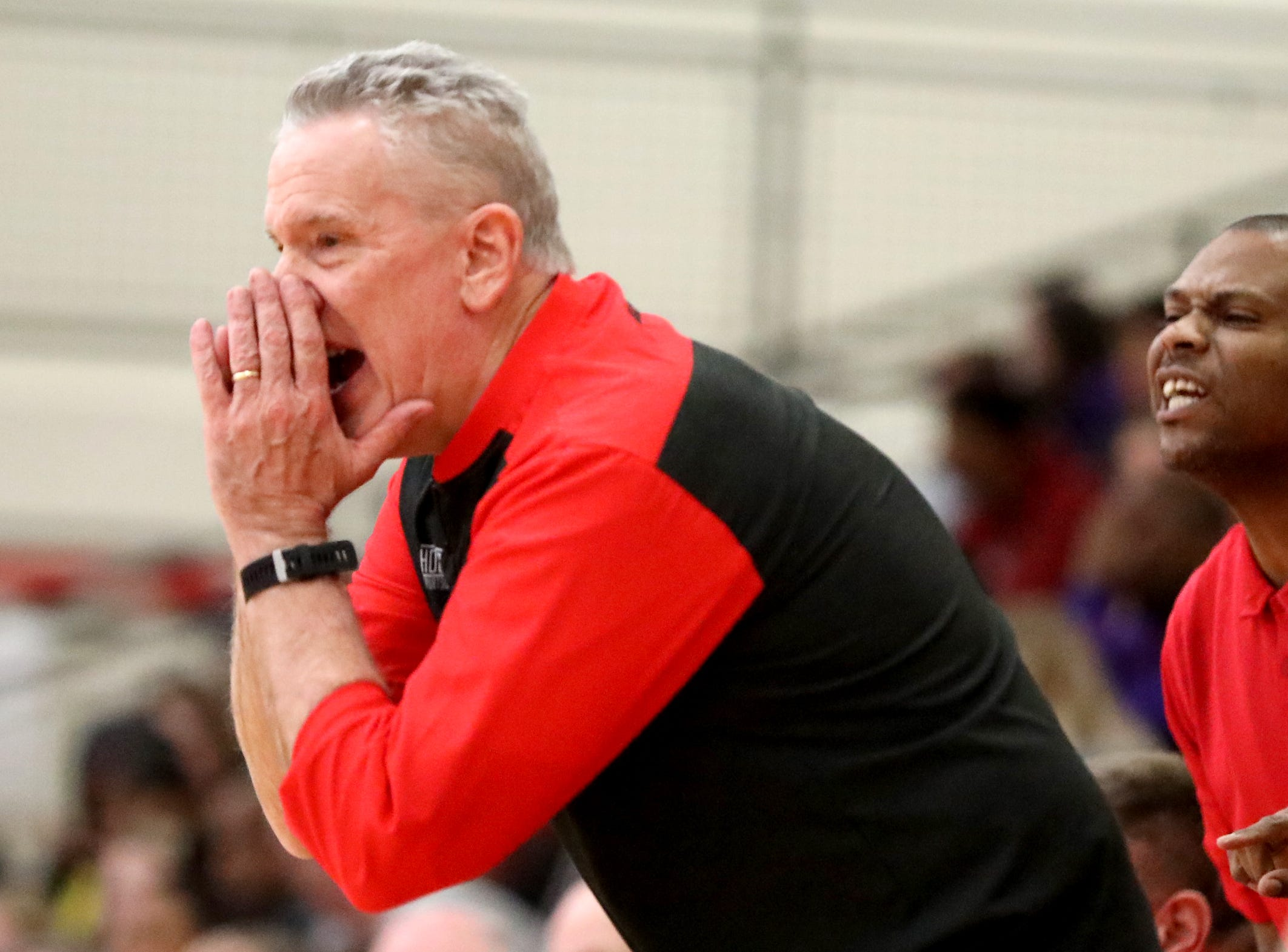 Lakota West head coach Jim Leon reacts during the Firebirds basketball game against Middletown, Tuesday, Dec. 11,2018.