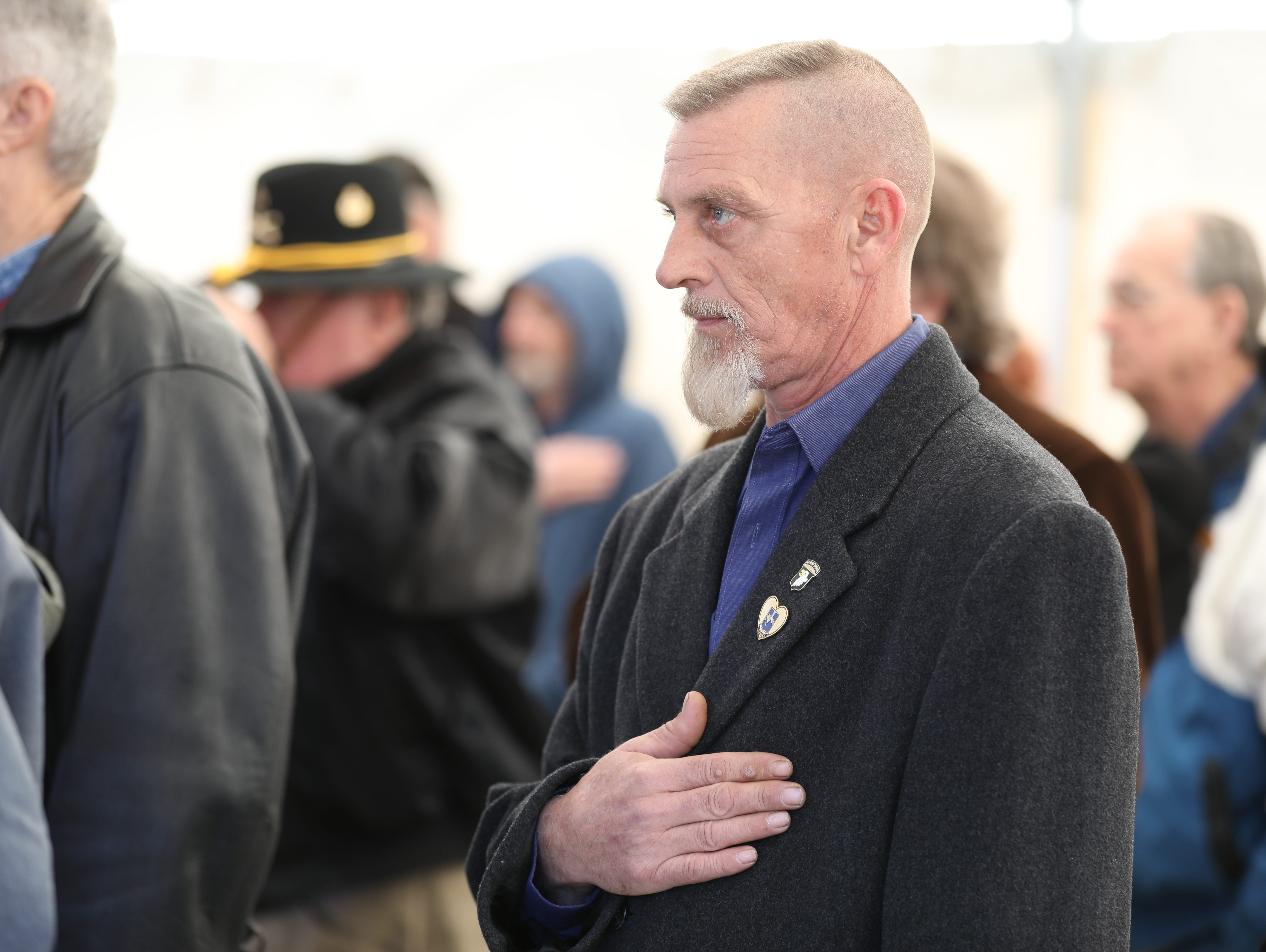 Steve Hamilton, veteran of 3-502nd, pays his respects to the fallen Soldiers at the Gander Memorial in Hopkinsville, KY Dec. 12, 2018.