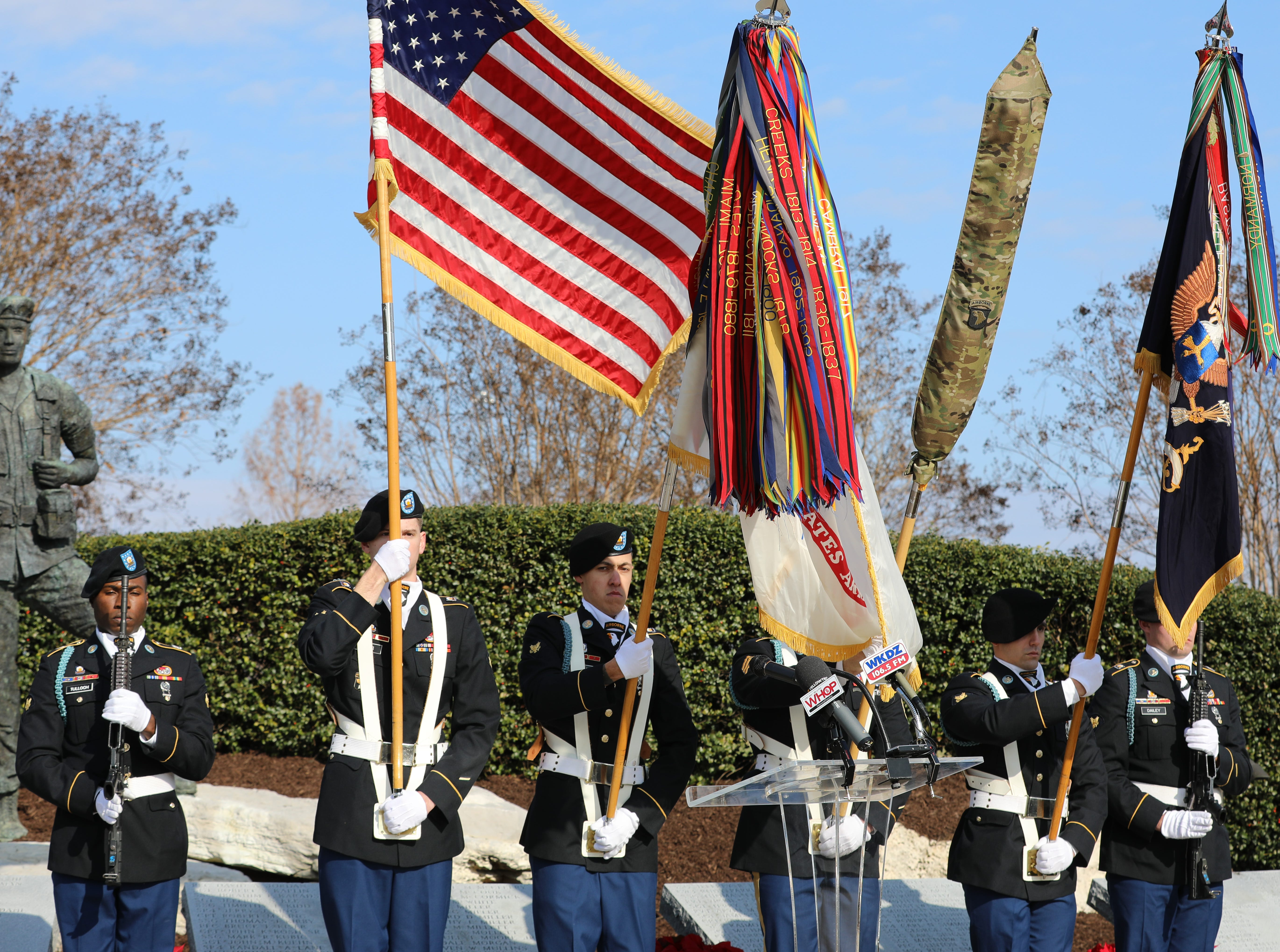 Honor Guard Soldiers, 2nd Brigade Combat Team, conduct ceremony presentations of the flags in Honor of the Gander Memorial in Hopkinsville, KY Dec. 12, 2018.