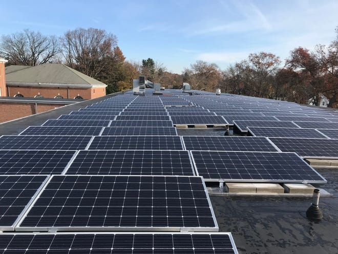 Solar panels installed on Hubbard Middle School in Plainfield.