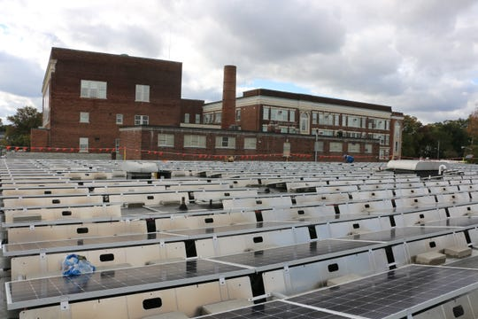 Solar panels on the roof at Plainfield High School, which are still in the process of installation.