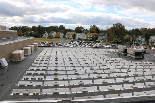Solar panels on a school roof in Plainfield.