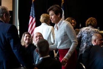 Iowa Governor Kim Reynolds talks about tax legislation during an Iowa Chamber Alliance legislative forum.
