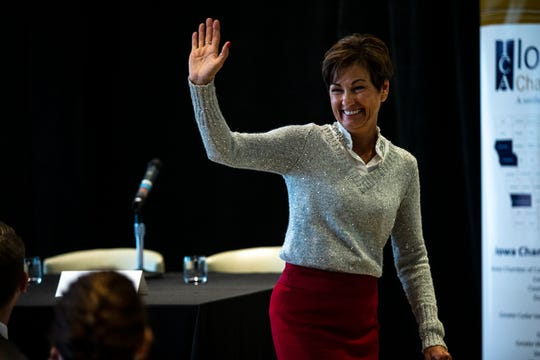 Governor Kim Reynolds meets with business leaders and members of the Iowa Chamber Alliance on Wednesday, Dec. 12, 2018 during a legislative forum hosted by the Alliance in Des Moines.