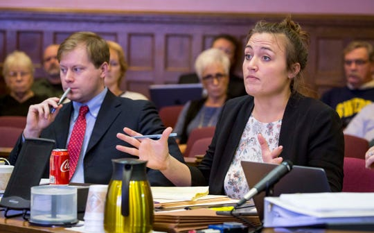 Attorney Alison Kanne speaks with Judge Martha Mertz Tuesday, Dec. 11, 2018 at the Marion County Courthouse in a hearing on whether a $10 million wrongful death judgment against Jason Carter should be overturned.