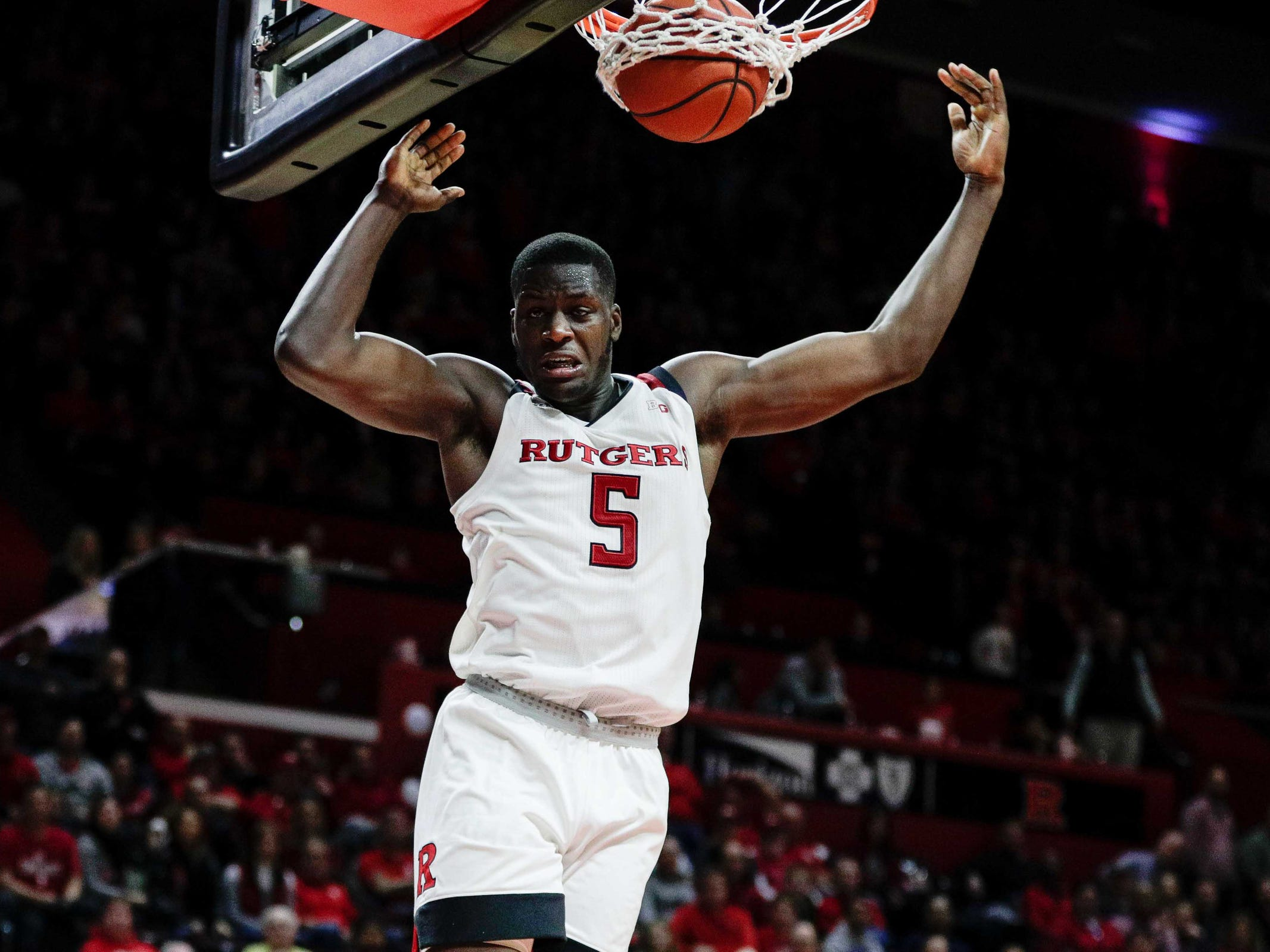 No. 13: Rutgers Scarlet Knights (5-4, 0-2). Junior forward Eugene Omoruyi is collecting 15.8 points and 9.2 rebounds.