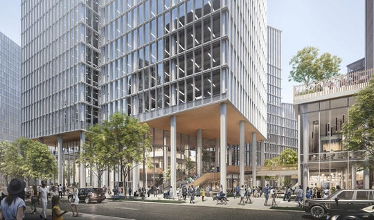 A rendering of the view of the Monroe Blocks project from Cadillac Square. The multibuilding project is set to break ground Thursday, Dec. 13, 2018, in Detroit.