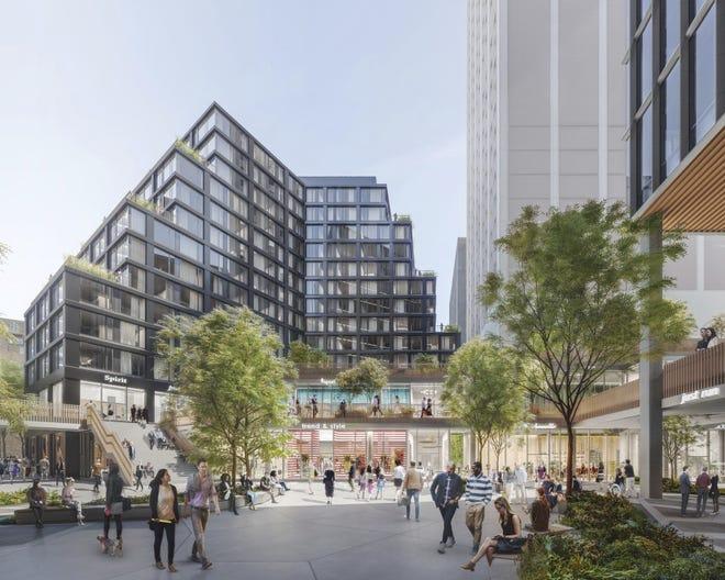 A rendering of Dan Gilbert's multibuilding Monroe Blocks project that breaks ground Thursday, Dec. 13, 2018, in Detroit.