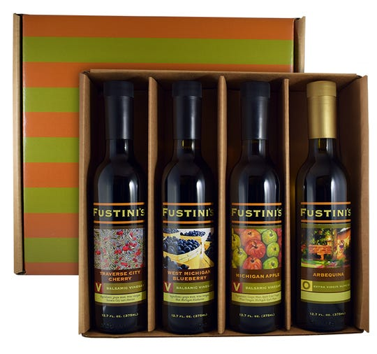 Fustini's holiday four-pack includes the new Michigan Apple balsamic vinegar.
