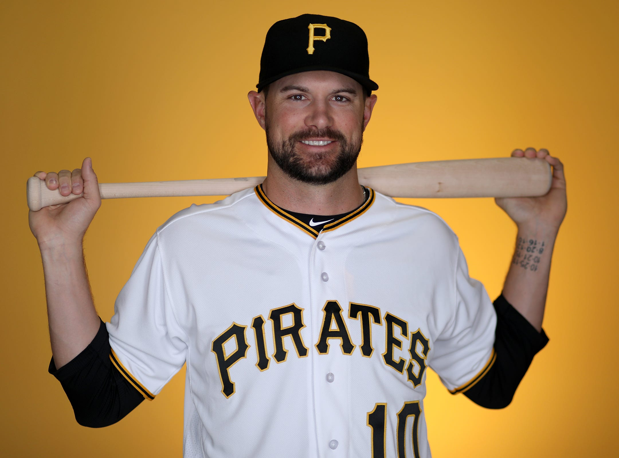 Jordy Mercer of the Pittsburgh Pirates poses for a photo at LECOM Park on February 21, 2018 in Bradenton, Florida.
